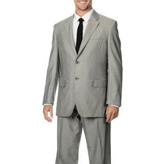 Silvio Bresciani Men's Super 120 Stripe 2 Button Wool Suit