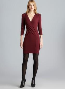French Connection Deep Surplice Side Gathered Exposed Back Zip Dress
