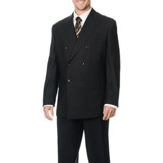 Silvio Bresciani Men's Super 120 Double Breasted Stripe Wool Suit