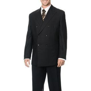 Silvio Bresciani Men's Super 120 Double Breasted Stripe Wool Suit