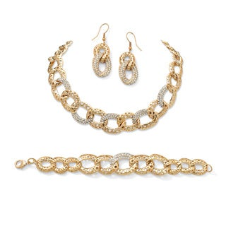 PalmBeach Gold Overlay Crystal Curb-Link Necklace and Earrings Jewelry Set Bold Fashion