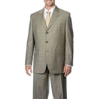 Silvio Bresciani Men's Super 120 Windowpane Stripe 3 Button Wool Suit