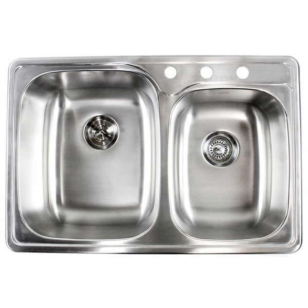 ... gauge Top-Mount/Drop-In Stainless Steel Double 60/40 Bowl Kitchen Sink