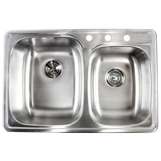 33-inch 18-gauge Top-Mount/Drop-In Stainless Steel Double 60/40 Bowl Kitchen Sink
