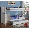 Arch Mission Twin Stairway Bunk Bed with Twin Trundle Bed