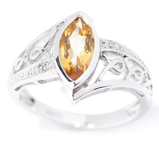 Sterling Silver Marquise Citrin and White Topaz Ring