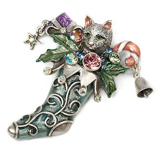 Sweet Romance Kitten in a Vintage Christmas Stocking Pin / Brooch