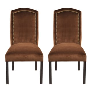 Como Tobacco Camelback Back Nail Head Dining Chairs (Set of 2)