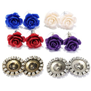 Sweet Romance Interchangeable Roses Stud Earrings Set