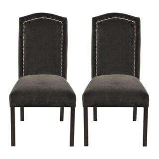 Lugano Grey Camelback Back Nail Head Dining Chairs (Set of 2)