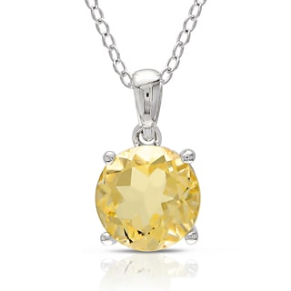 M by Miadora Sterling Silver Citrine Solitaire Necklace