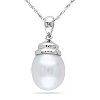 Miadora 10k White Gold Cultured Freshwater Pearl Necklace (10.5-11 mm)