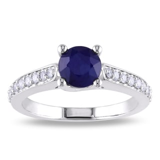 Miadora 10k White Gold Sapphire and 1/4ct TDW Diamond Ring (G-H, I1-I2)