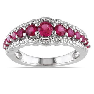 Miadora Sterling Silver Created Ruby Fashion Ring