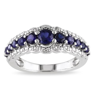 Miadora Sterling Silver Created Blue Sapphire Fashion Ring