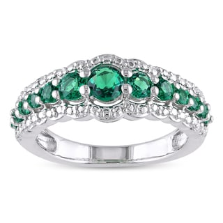 Miadora Sterling Silver Created Emerald Ring