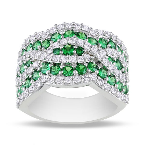 Miadora Sterling Silver Tsavorite and White Sapphire Ring