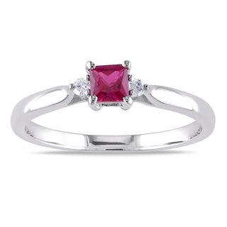 Miadora Sterling Silver Created Ruby and Diamond Three-Stone Ring
