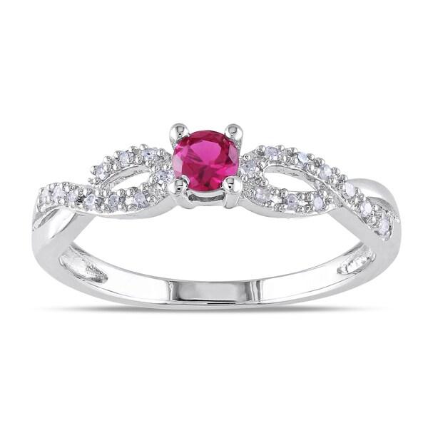 Miadora Silver Created Ruby and 1/10ct TDW Diamond Ring (H-I, I2-I3)