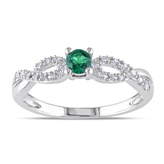 Miadora Silver Created Emerald and 1/10ct TDW Diamond Ring (H-I, I2-I3)