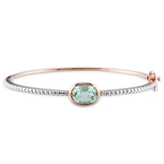Miadora Roseplated Silver 2ct TGW Green Amethyst Bangle