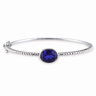 Miadora Sterling Silver Created Blue Sapphire Bangle