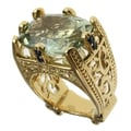 Dallas Prince Gold over Silver Green Amethyst and Blue Sapphire Ring
