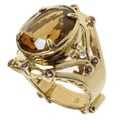 Dallas Prince Gold over Silver Whiskey Quartz, Rhodolite and White Zircon Ring