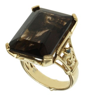 Dallas Prince Gold over Silver Smoky Quartz and Teal Diamond Ring