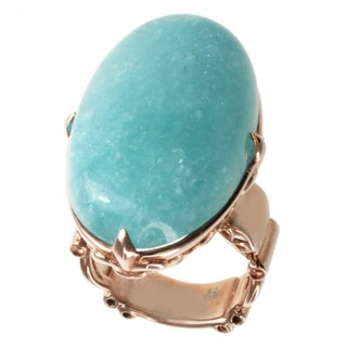 Dallas Prince Rose Gold over Silver Aquamarine Cabochon Ring