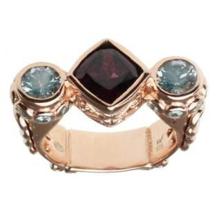 Dallas Prince Rose Gold over Silver, Rhodolite, Aquamarine and Blue Zircon Ring