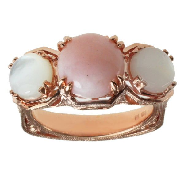 Dallas Prince Rose Gold over Silver, Pink Opal and Mother of Pearl Ring