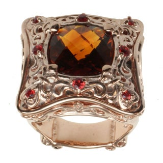 Dallas Prince Rose Gold over Silver, Madiera Citrine and Orange Sapphire Ring