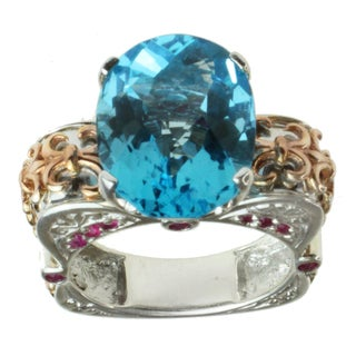 Dallas Prince Two-tone Swiss Blue Topaz and Ruby Ring