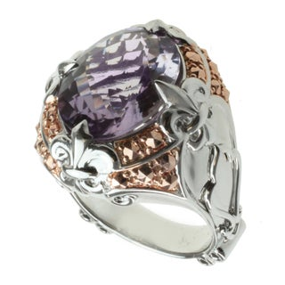 Dallas Prince Two-tone Amethyst and Marcasite Ring