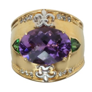 Dallas Prince Two-tone Amethyst, Chrome Diopside and White Sapphire Ring