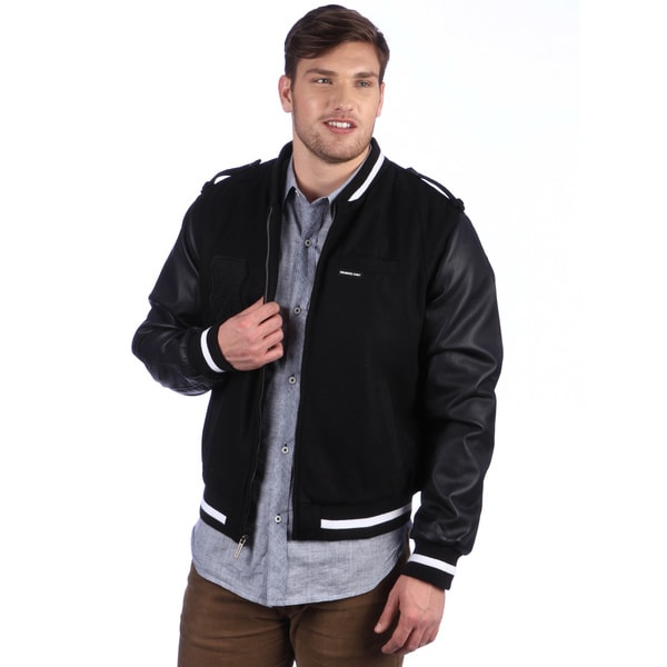 Members Only Men's Black Varsity Racer Jacket