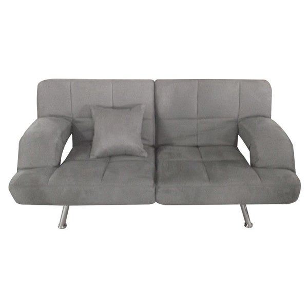 Grey microsuede sofa bed 80005226 overstockcom for Grey microsuede sectional sofa