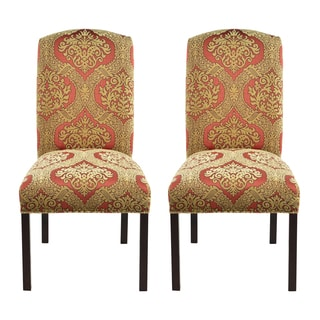 Tiberio Print Camelback Nail Trim Dining Chairs (Set of 2)