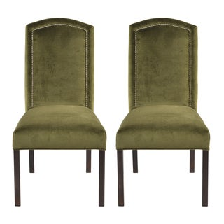 Cannes Moss Camelback Back Nail Head Dining Chairs (Set of 2)