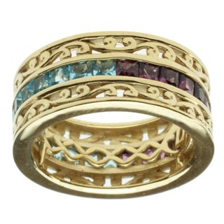 Dallas Prince Gold over Silver Rhodolite and Swiss Blue Topaz Reversable Eternity Ring