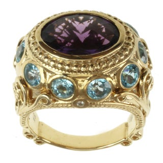 Dallas Prince Gold over Silver Amethyst, Swiss Blue Topaz, Rhodolite and White Sapphire Ring