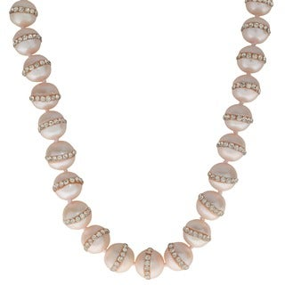 Pearls For You Sterling Silver White or Dyed Multi-color Crystal Freshwater Pearl Strand Necklace (10-11 mm)