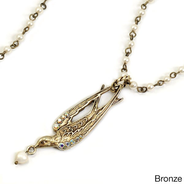 Sweet Romance Swallow and Glass Pearl Necklace