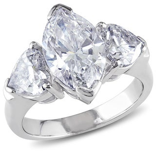Miadora Signature Collection 18k White Gold 4 7/8ct TDW Marquise Diamond Ring (D-E, SI1-SI2)
