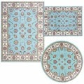 Nourison Persian Floral Collection Blue Rug 3pc Set 3'11 x 5'3, 5'3 x 5'3 Round, 5'3 x 7'3