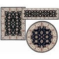 Nourison Persian Floral Collection Black Rug 3pc Set 2'2 x 7'3, 3'11 x 5'3, 5'3 x 5'3 Round