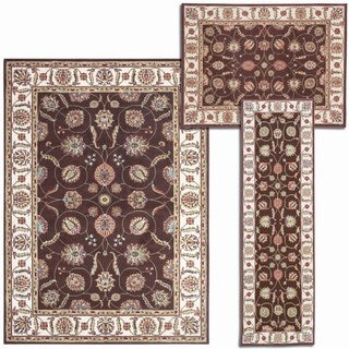 Nourison Persian Floral Collection Brown Rug 3pc Set 2'2 x 7'3, 3'11 x 5'3, 5'3 x 7'3