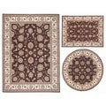 Nourison Persian Floral Collection Brown Rug 3pc Set 3'11 x 5'3, 5'3 x 5'3 Round, 7'10 x 10'6