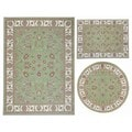 Nourison Persian Floral Collection Green Rug 3pc Set 3'11 x 5'3, 5'3 x 5'3 Round, 7'10 x 10'6